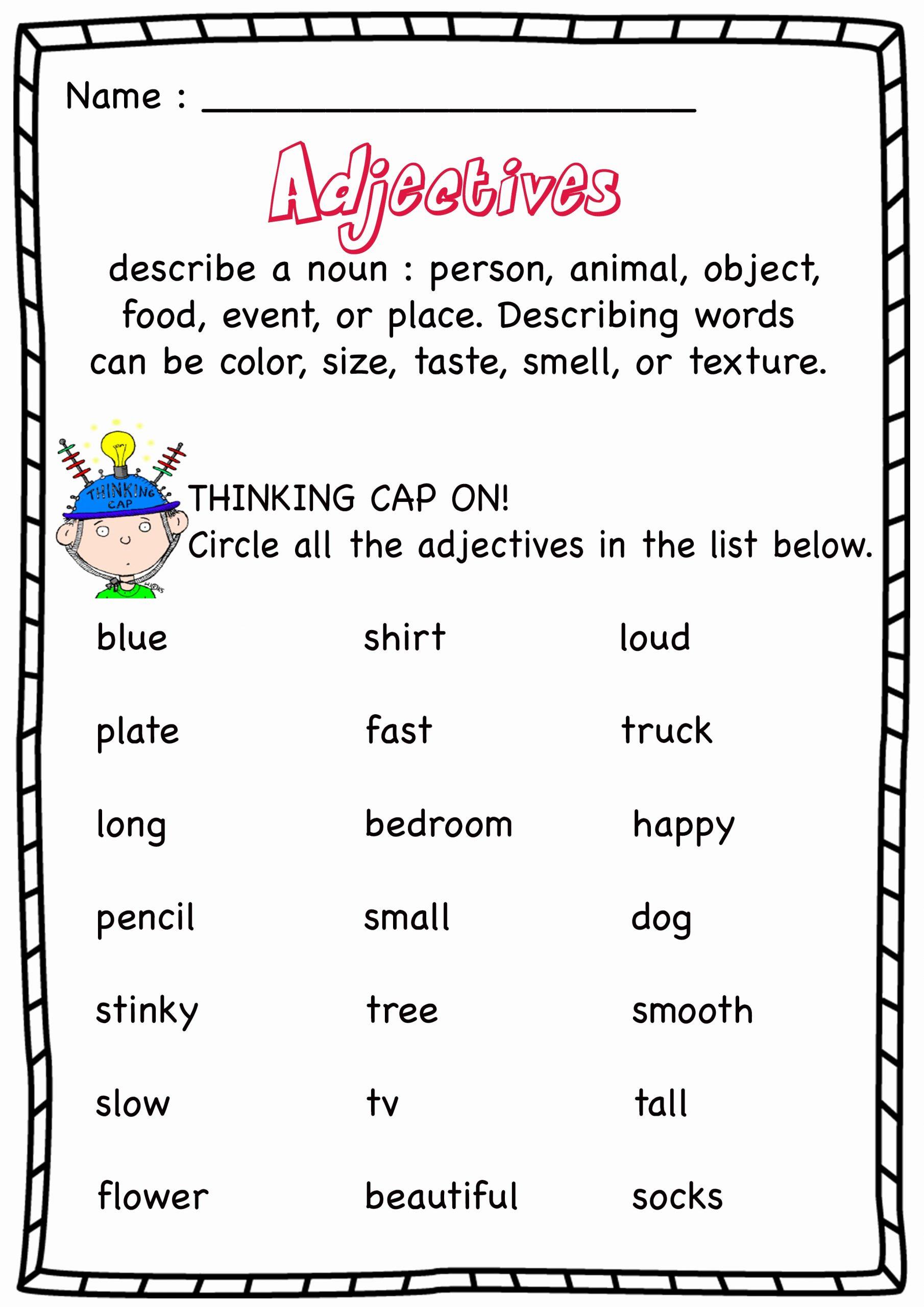 Free Printable Adjective Worksheets Lovely Worksheet Find the Adjectives