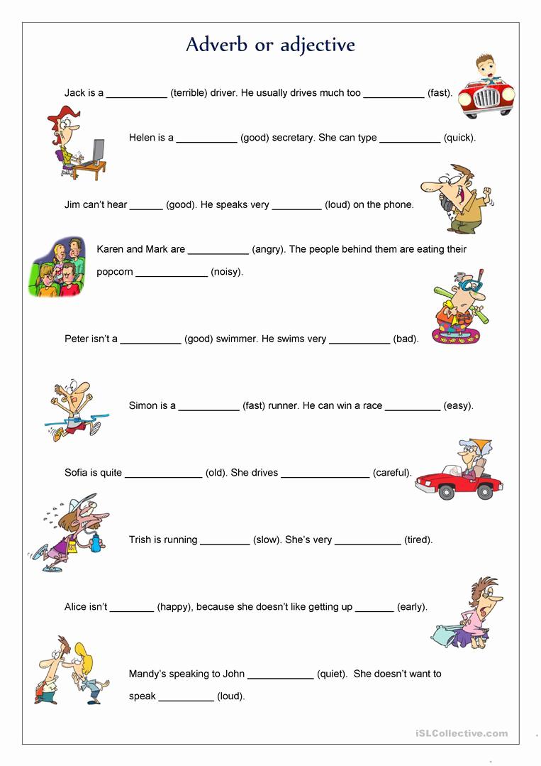 Free Printable Adjective Worksheets Luxury Adverb or Adjective Worksheet Free Esl Printable