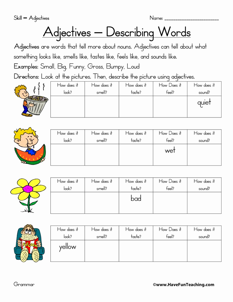 Free Printable Adjective Worksheets Unique Adjective Worksheet