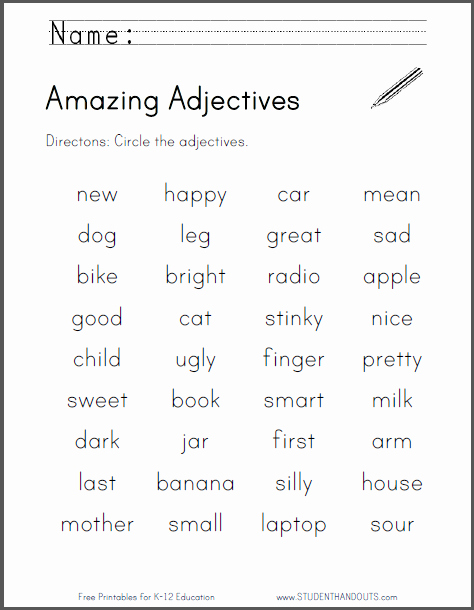 Free Printable Adjective Worksheets Unique Amazing Adjectives Worksheet