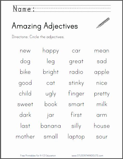 Free Printable Adjective Worksheets Unique Amazing Adjectives Worksheet