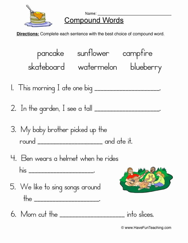 Free Printable Compound Word Worksheets Awesome Pound Words Fill In Blank Worksheet In 2020 with