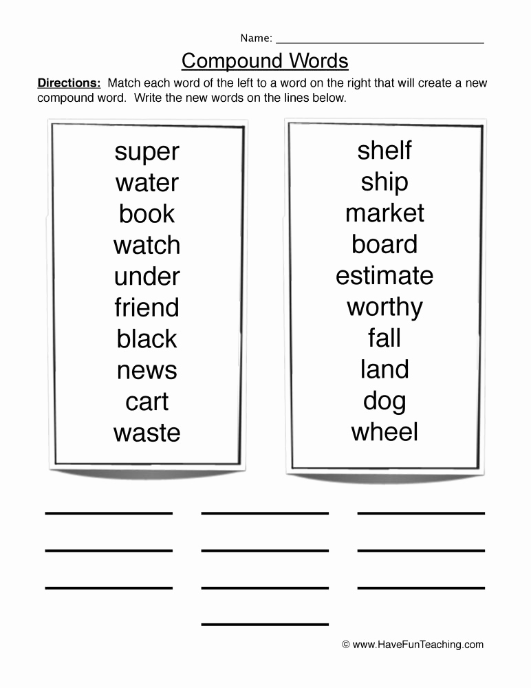 Free Printable Compound Word Worksheets Awesome Worksheets Resources
