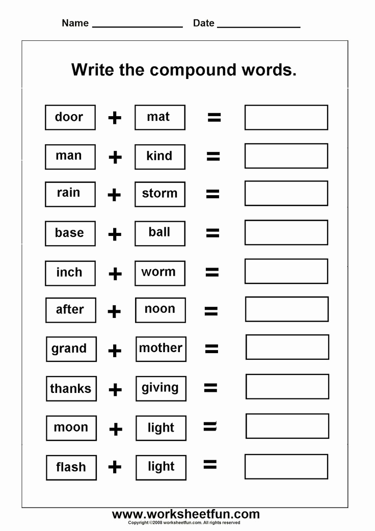 Free Printable Compound Word Worksheets Lovely 14 Best Of Pound Words Worksheets Pdf 2nd