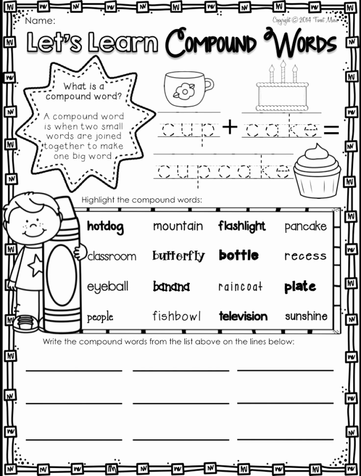 Free Printable Compound Word Worksheets Luxury 12 Pound Word Worksheet 1st Grade