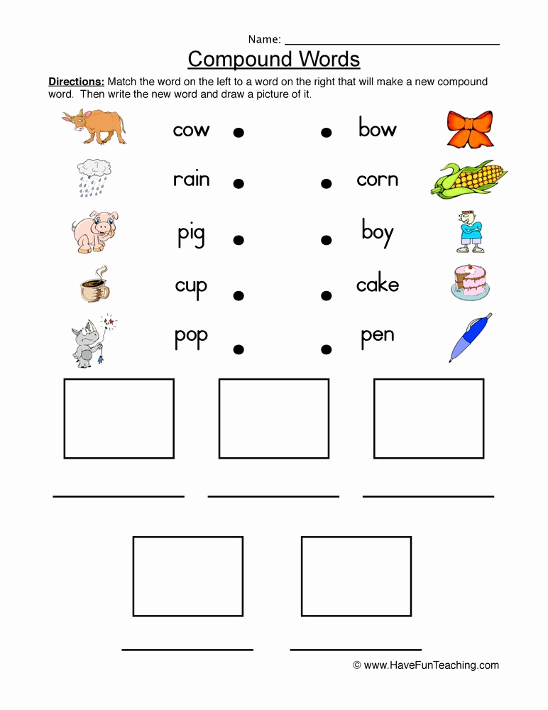 Free Printable Compound Word Worksheets Luxury Printables Of List Pound Words for Kindergarten