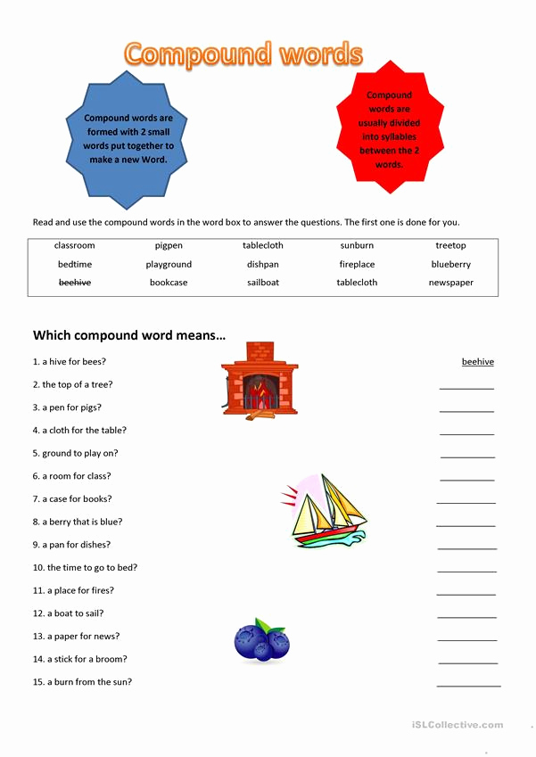 Free Printable Compound Word Worksheets New Pound Words Worksheet Free Esl Printable Worksheets