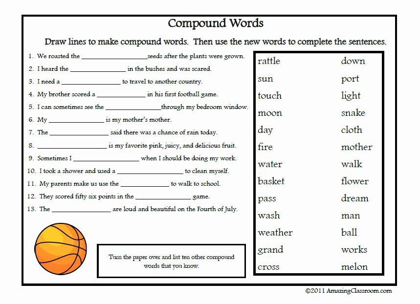 Free Printable Compound Word Worksheets Unique Pound Words Worksheets