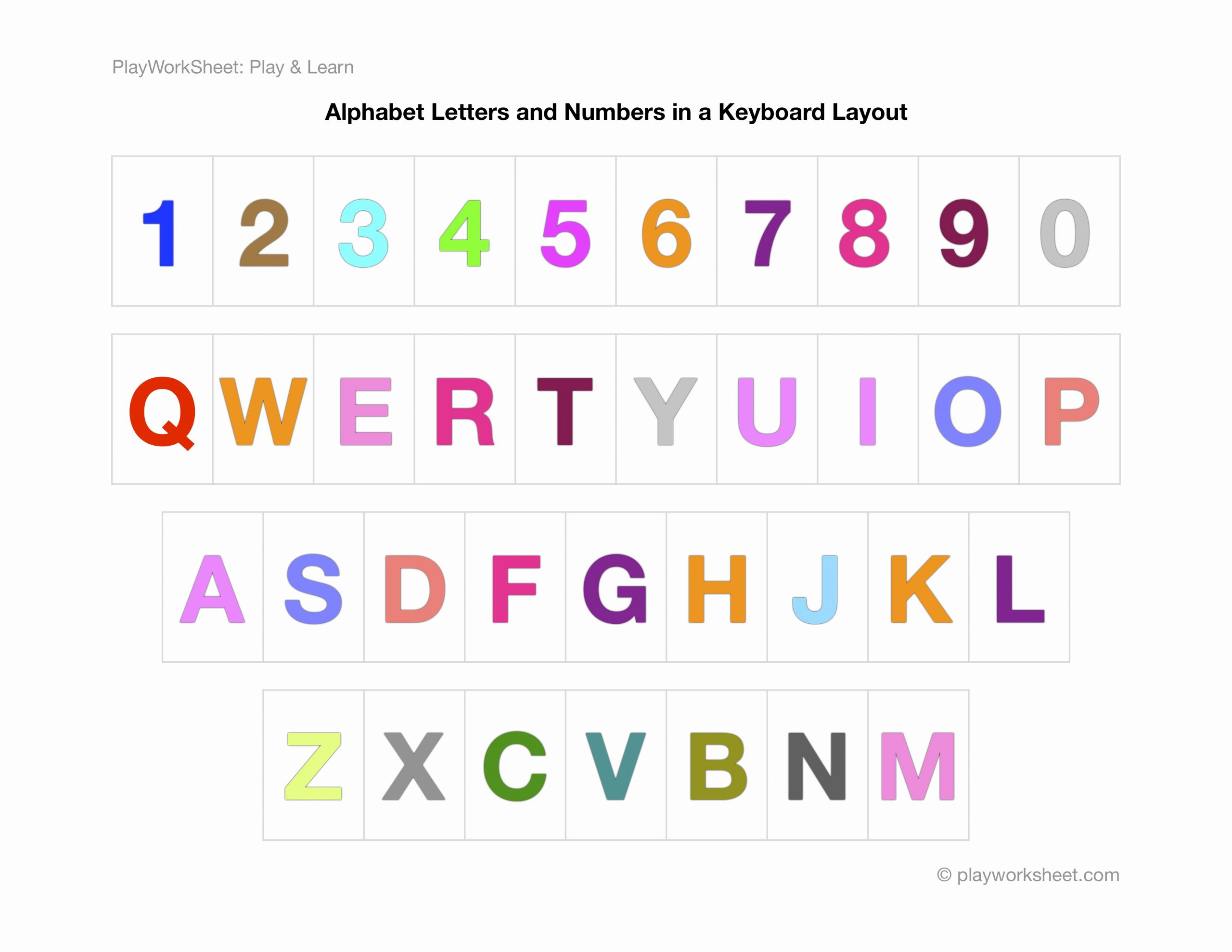 Free Printable Computer Keyboarding Worksheets Awesome Alphabet Letters and Numbers In A Keyboard Layout