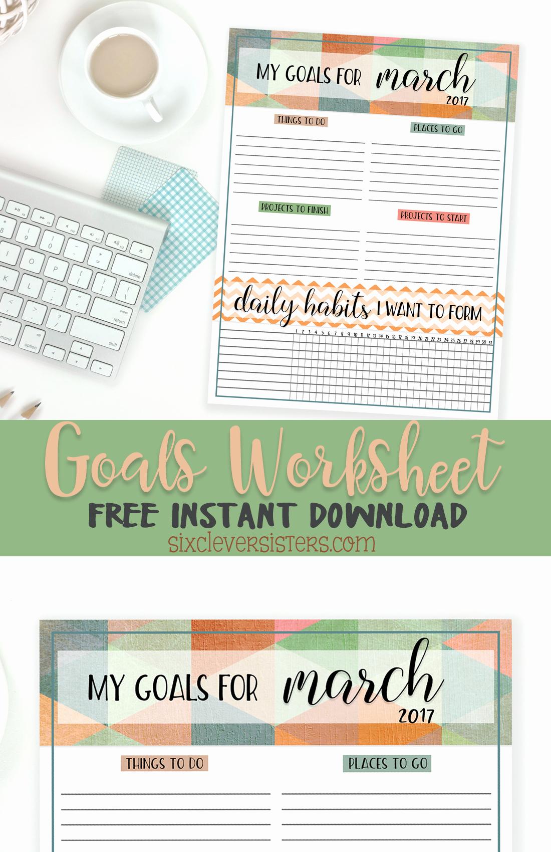 Free Printable Computer Keyboarding Worksheets Beautiful Goals Worksheet Free Printable