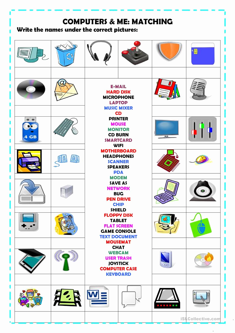 Free Printable Computer Worksheets Awesome Puters Matching Worksheet Free Esl Printable
