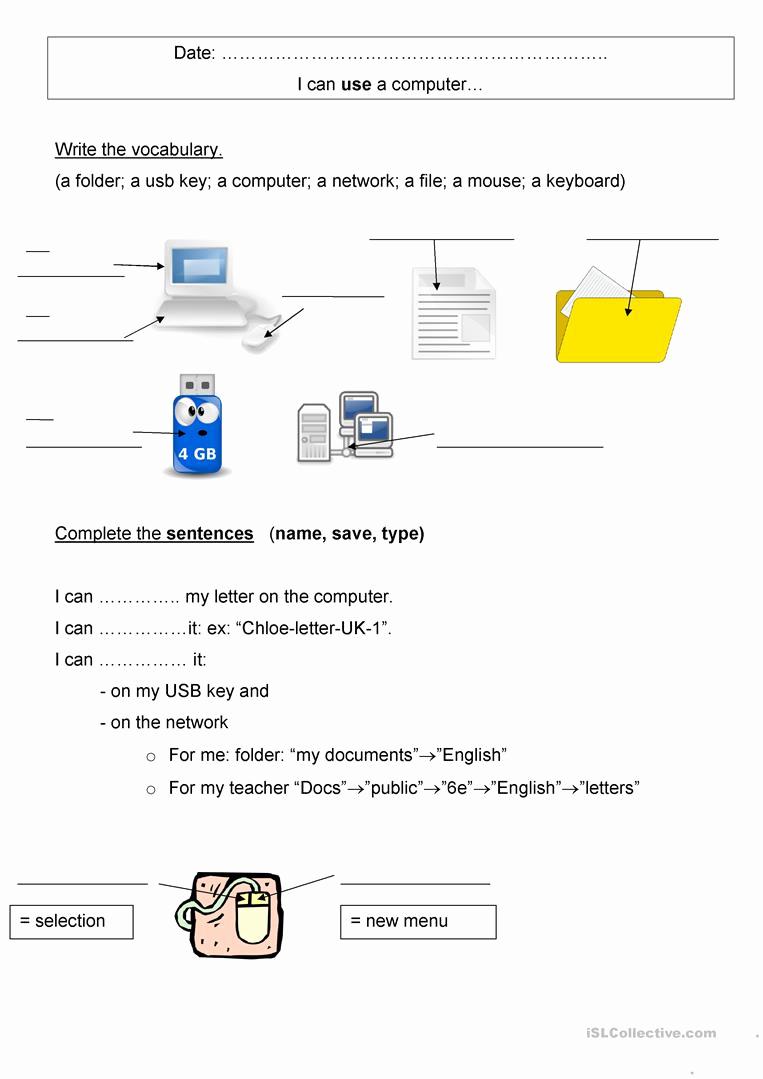 Free Printable Computer Worksheets Beautiful Puter Vocabulary Worksheet Free Esl Printable