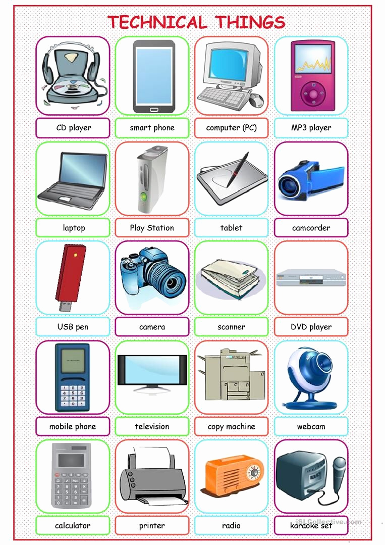 Free Printable Computer Worksheets Best Of Technical Things Picture Dictionary Worksheet Free Esl