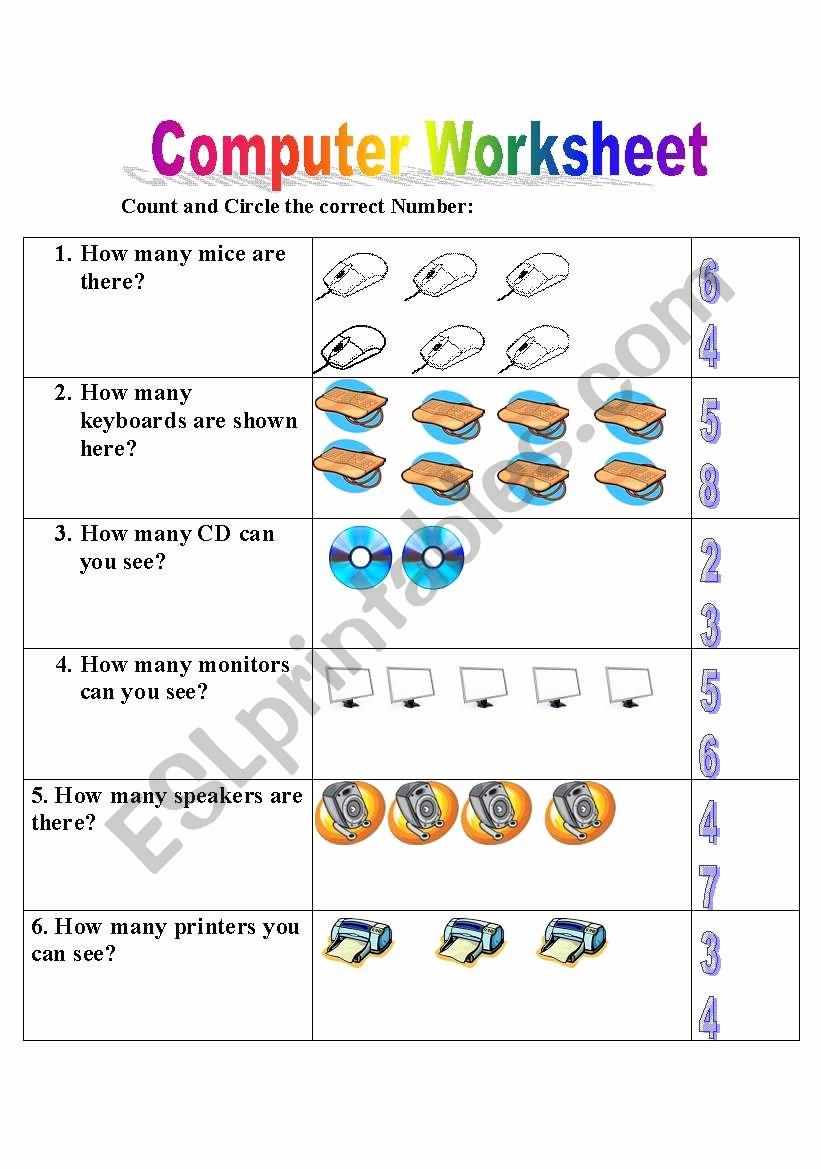 Free Printable Computer Worksheets Elegant English Worksheets Puter Worksheet