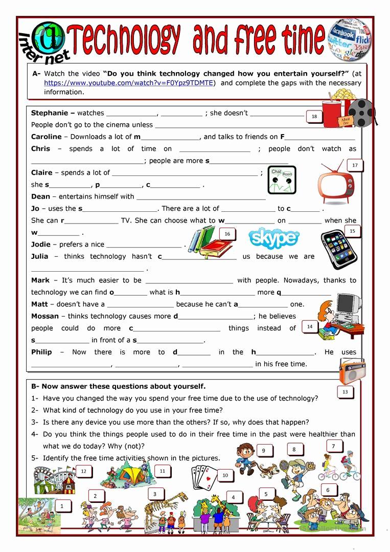 Free Printable Computer Worksheets Elegant Technology and Free Time Worksheet Free Esl Printable