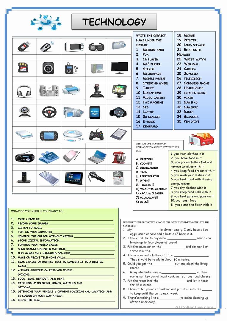 Free Printable Computer Worksheets Fresh Technology Worksheet Free Esl Printable Worksheets Made