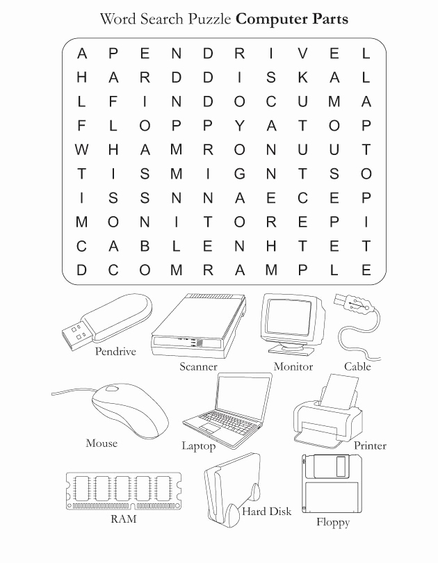 Free Printable Computer Worksheets Fresh Word Search Puzzle Puter Parts