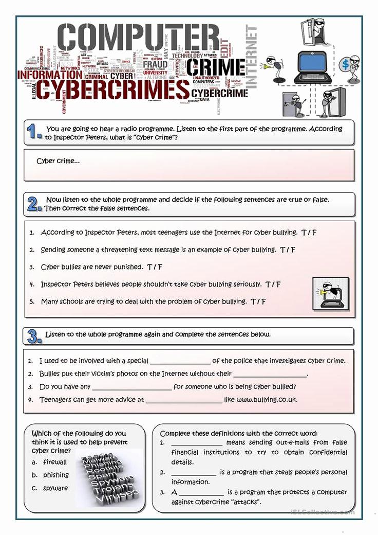 Free Printable Computer Worksheets Inspirational Cybercrime Worksheet Free Esl Printable Worksheets Made