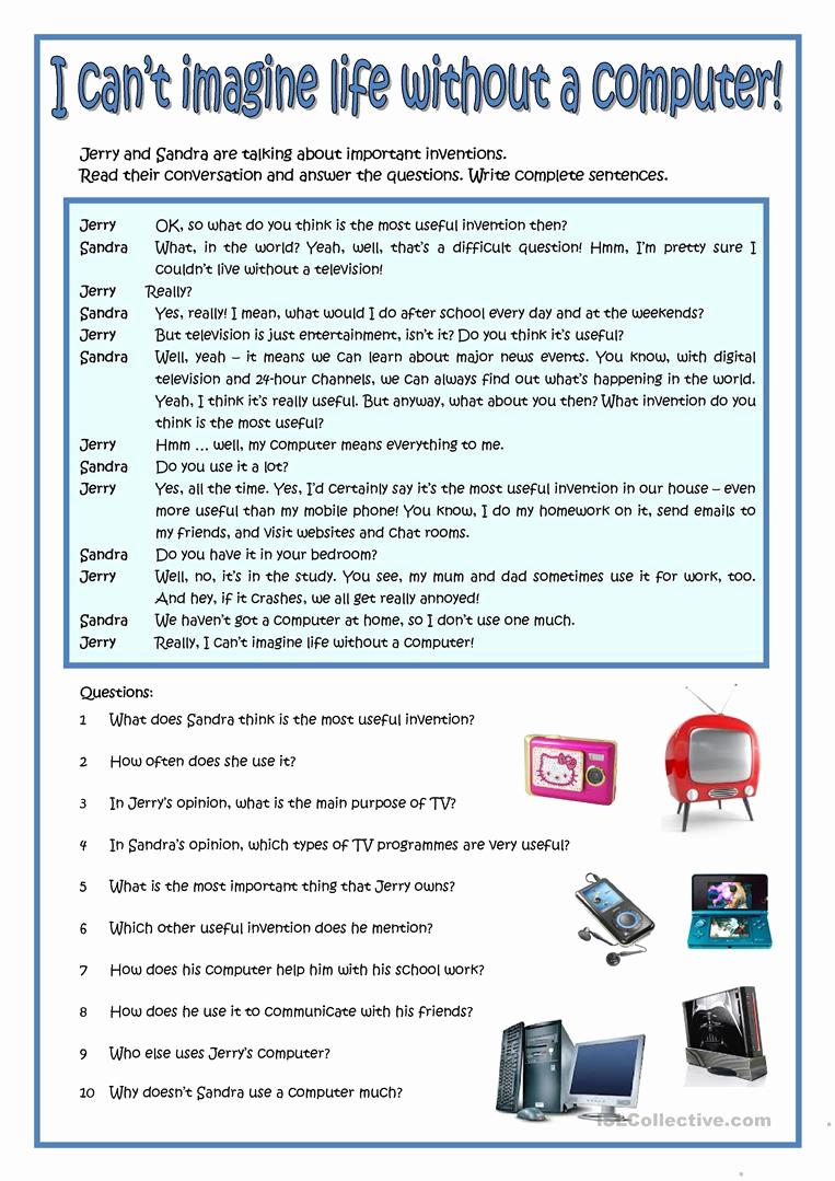 Free Printable Computer Worksheets Unique Puter Parts Esl Worksheettotya F