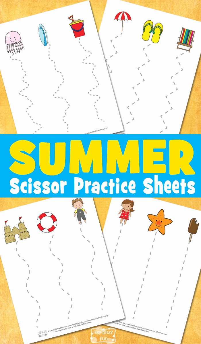Free Printable Cutting Worksheets Awesome Summer Scissor Practice Sheets Itsybitsyfun