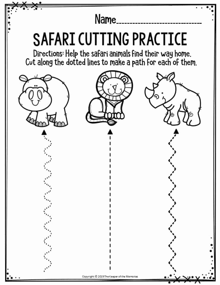 Free Printable Cutting Worksheets Beautiful Preschool Worksheets Safari Cutting Practice the Keeper