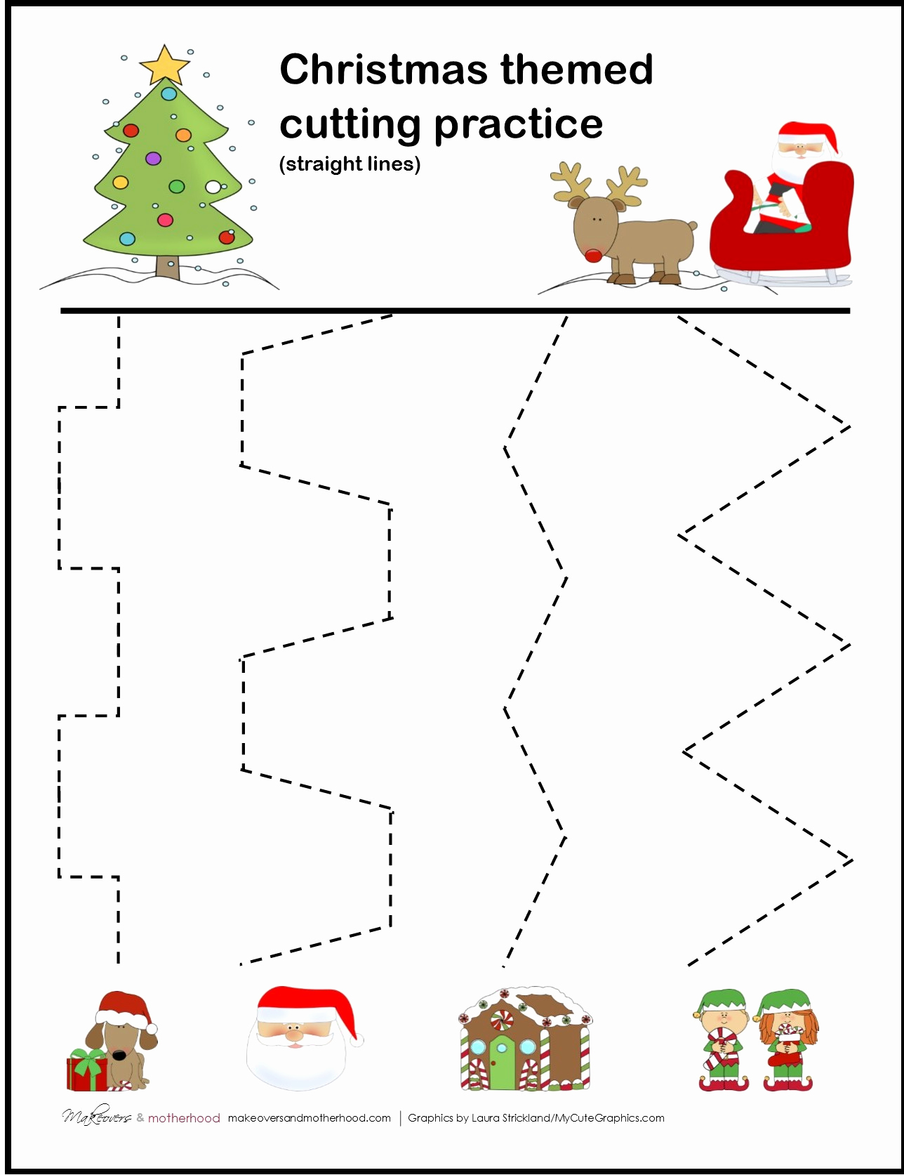 Free Printable Cutting Worksheets Unique Christmas Cutting Practice Sheets Makeovers and Motherhood