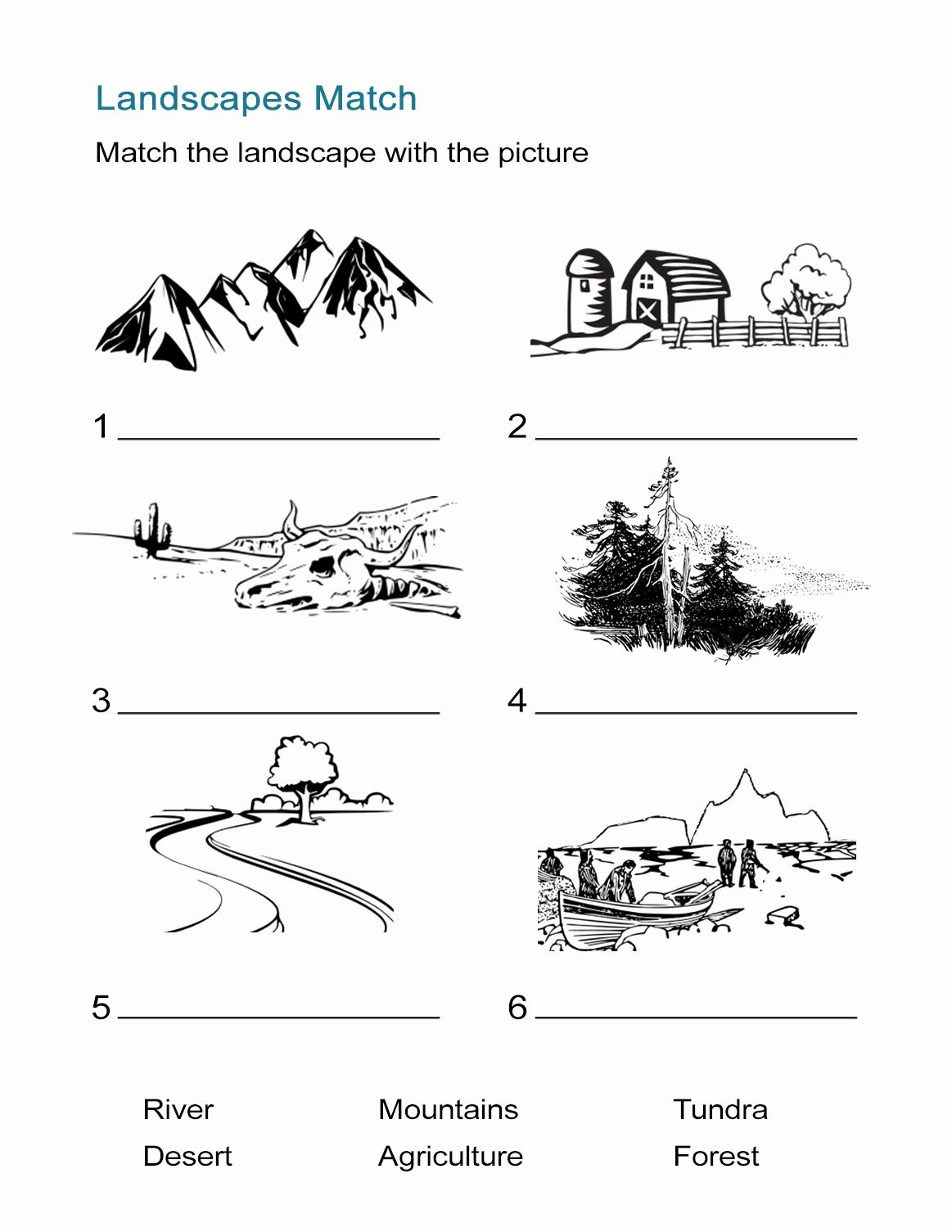Free Printable Ecosystem Worksheets New Ecosystems Worksheet Landscape Matching Quiz All Esl
