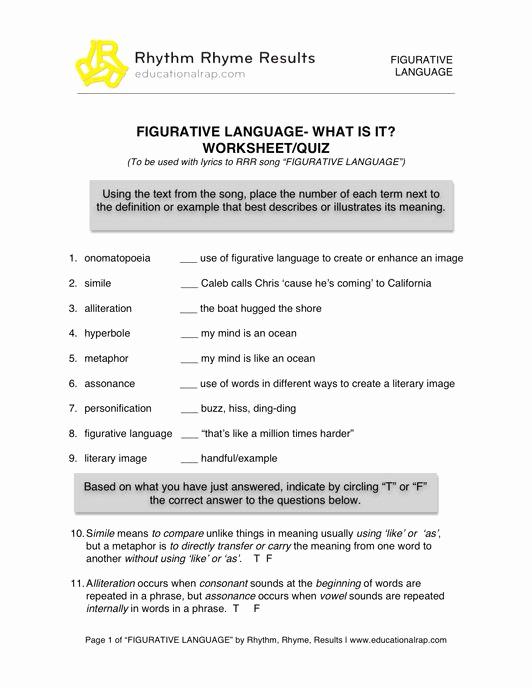 Free Printable Figurative Language Worksheets Best Of Figurative Language song with Free Worksheets and