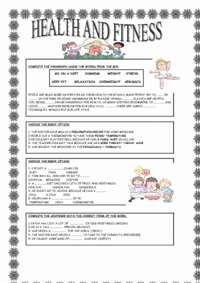 Free Printable Health Worksheets Best Of Health and Fitness with Images