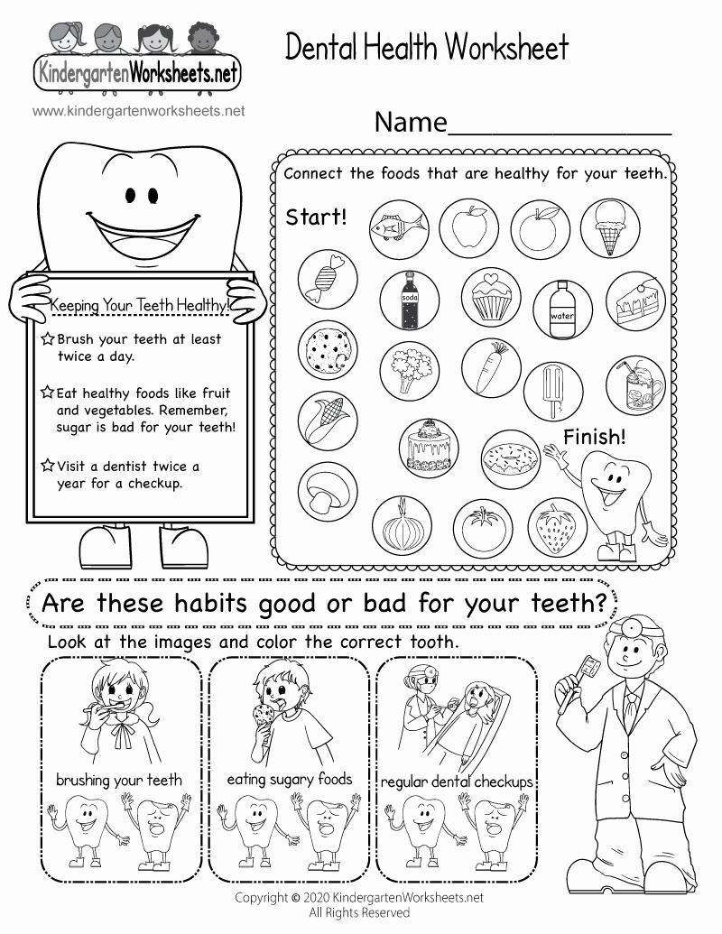 Free Printable Health Worksheets Elegant Dental Health Worksheet Free Kindergarten Learning