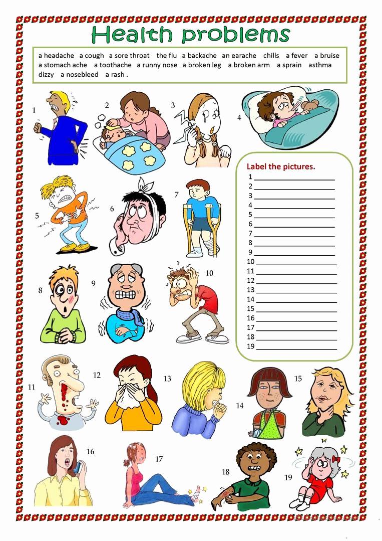 Free Printable Health Worksheets Elegant Health Problems Worksheet Free Esl Printable Worksheets
