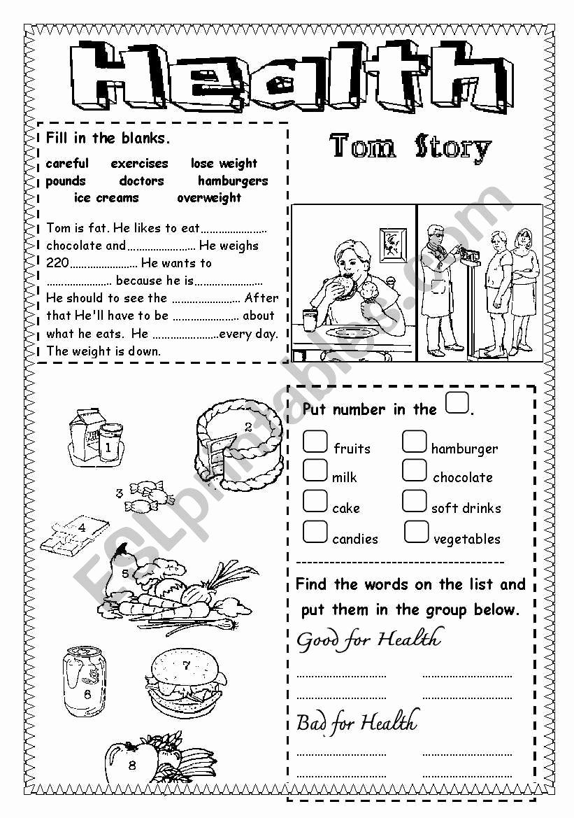 Free Printable Health Worksheets Lovely Health Esl Worksheet by Saifonduan