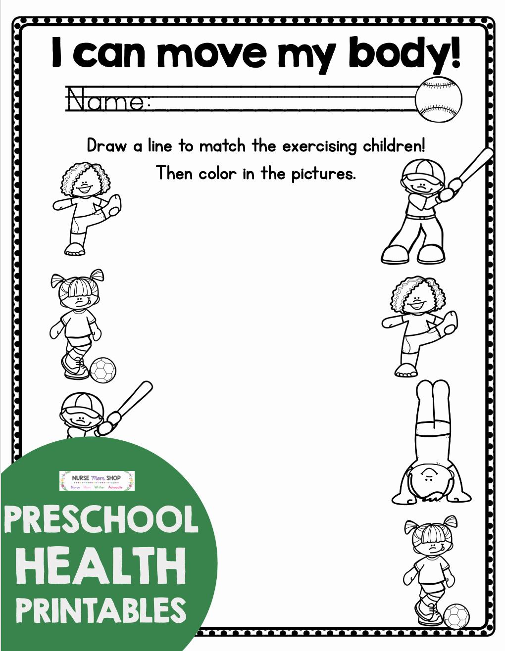 Free Printable Health Worksheets Luxury Free Health and Nutrition Preschool and Kindergarten