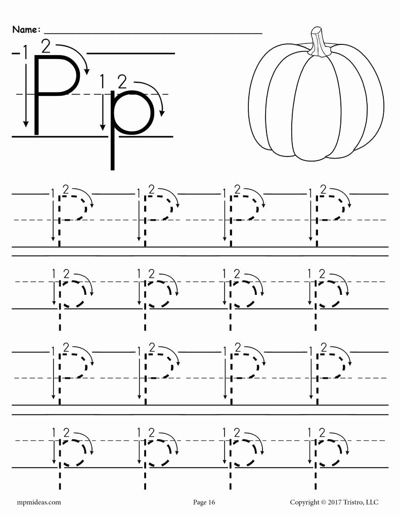 Free Printable Letter P Worksheets Elegant Printable Letter P Tracing Worksheet with Number and Arrow