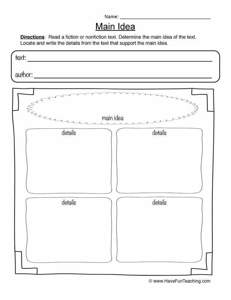 Free Printable Main Idea Worksheets Luxury 28 Main Idea Worksheet 4 Worksheet Resource Plans