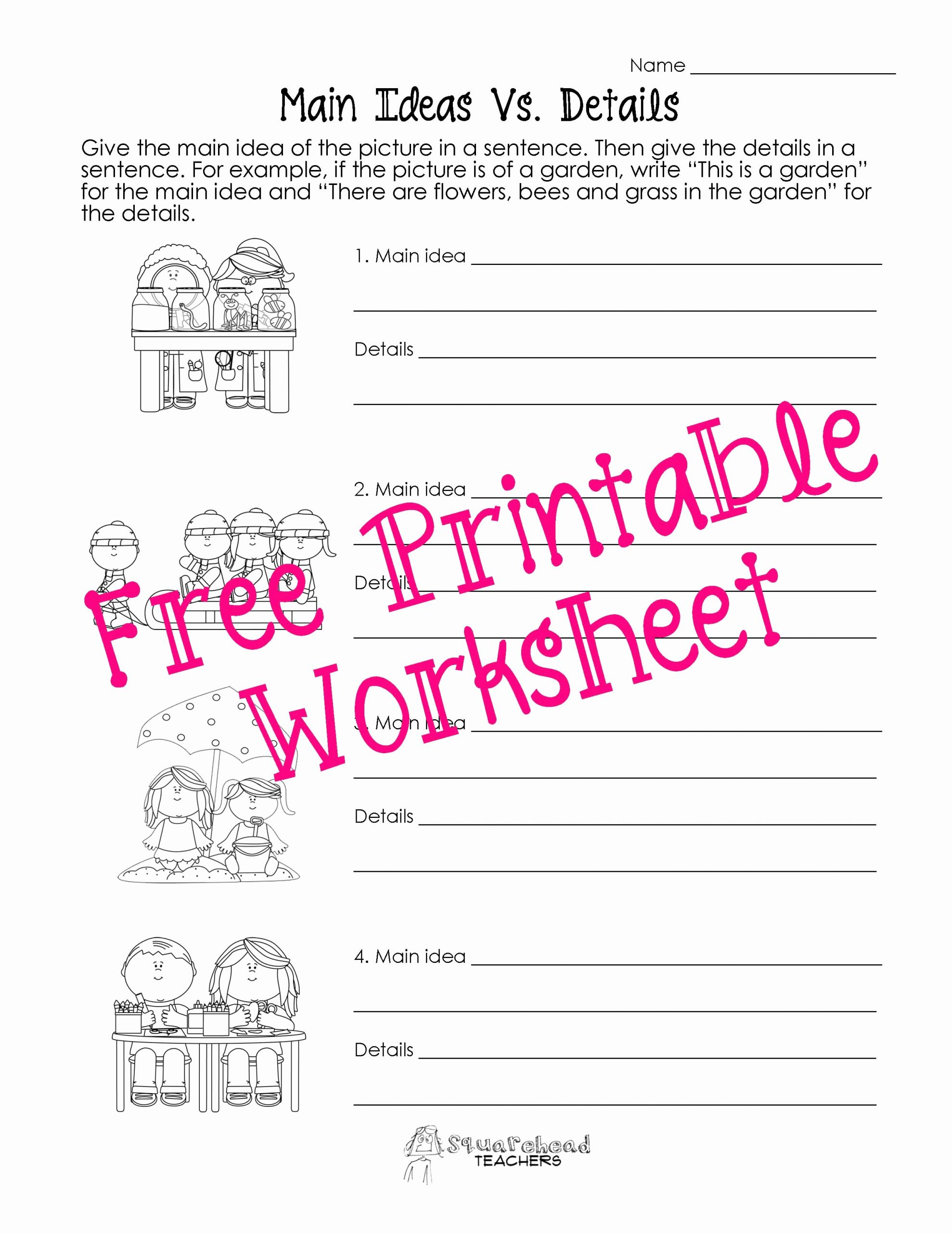 Free Printable Main Idea Worksheets New Free Printable Main Idea and Details Worksheets – Learning