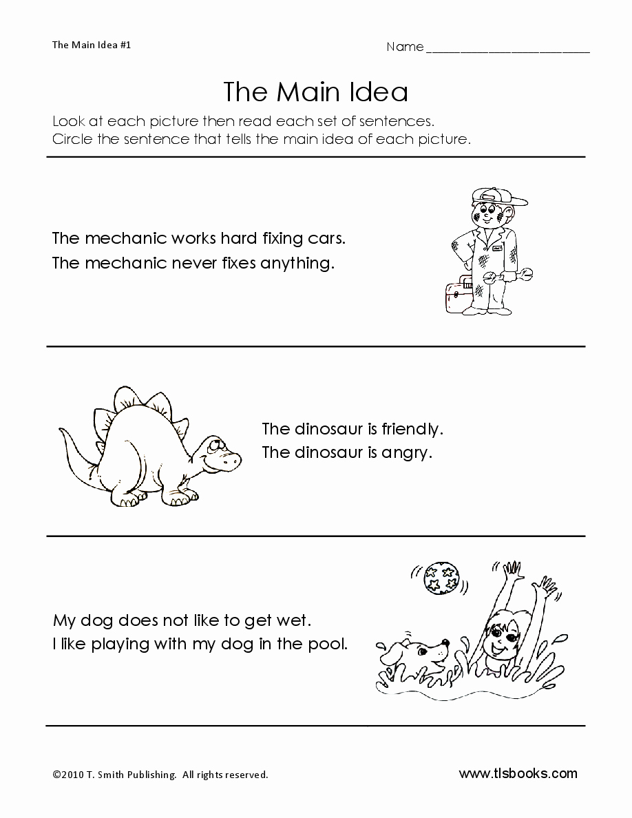 Free Printable Main Idea Worksheets New Main Idea Worksheet 1 Early Reading Worksheet