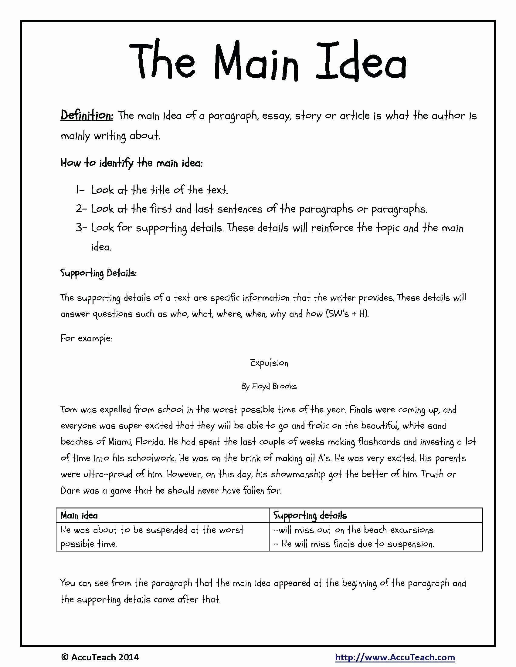 Free Printable Main Idea Worksheets Unique 10 Cute Main Idea Worksheets Third Grade 2021