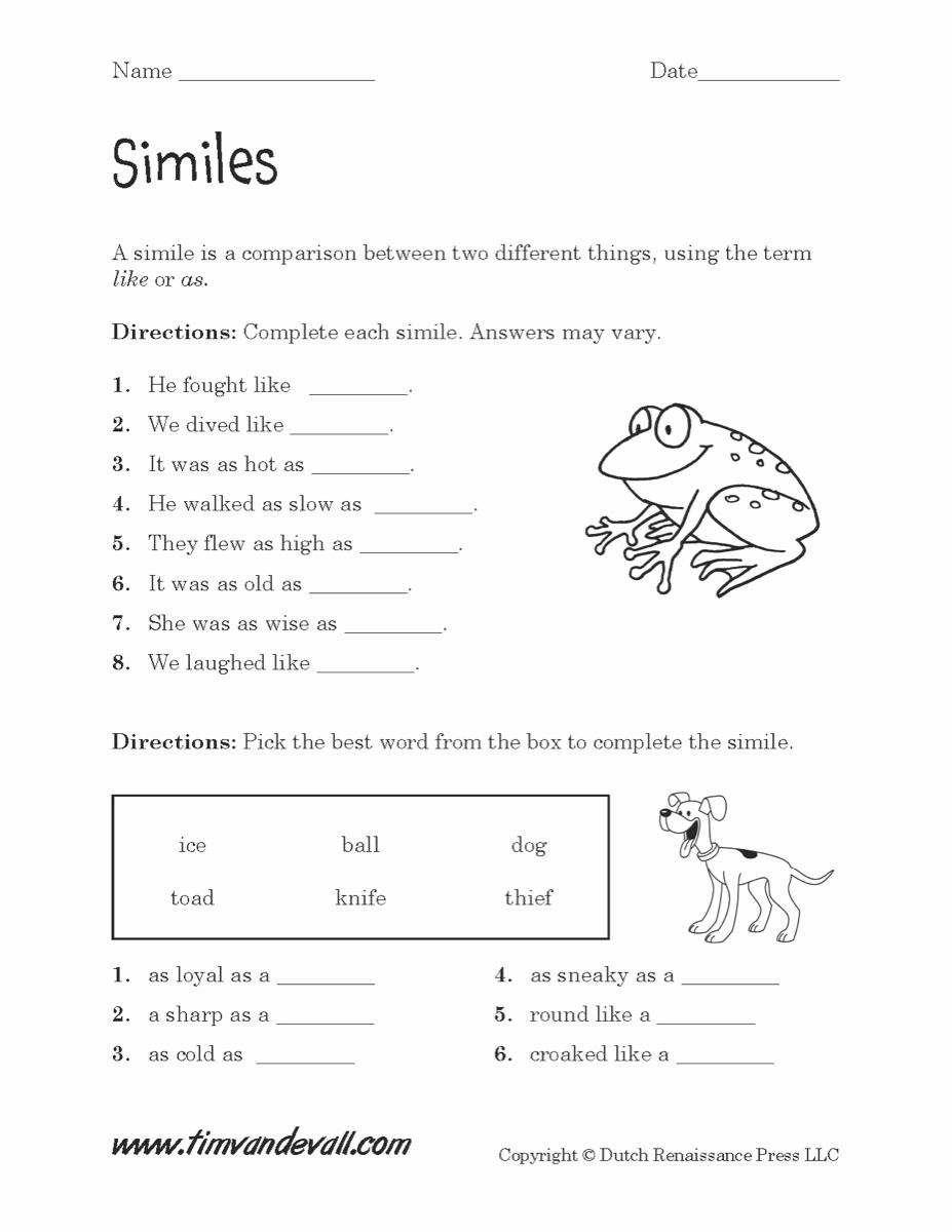 Free Printable Simile Worksheets Awesome Similes Worksheet 02 Tim S Printables