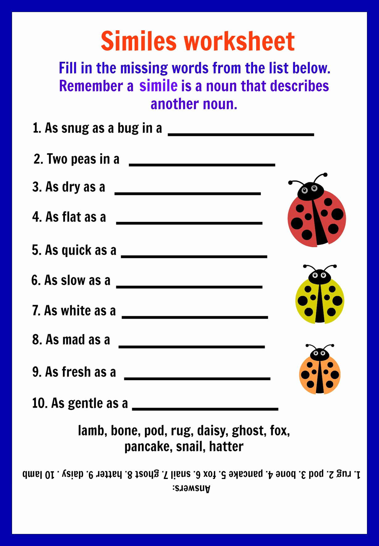 Free Printable Simile Worksheets Beautiful Similes Worksheets for Kids