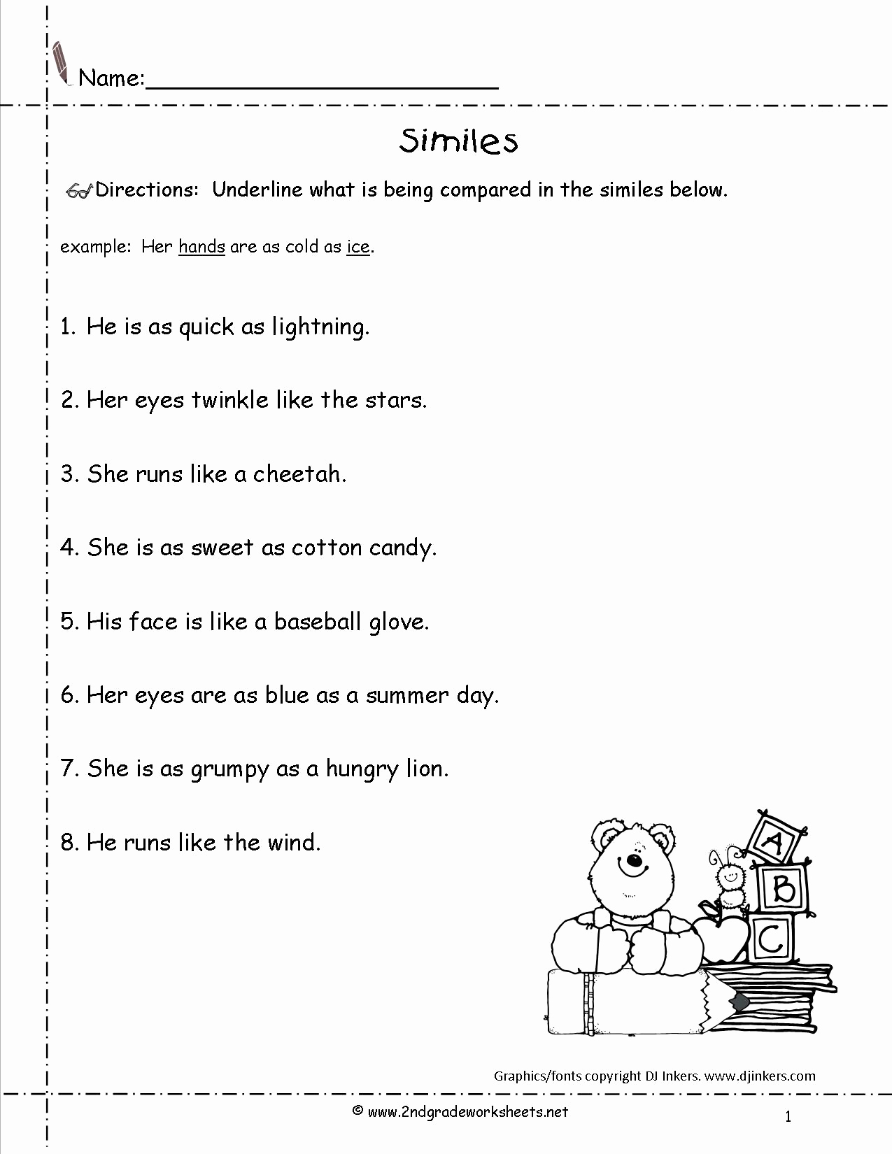 Free Printable Simile Worksheets Best Of 13 Best Of Simile Worksheets for Teachers Second