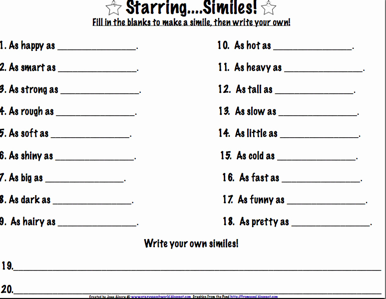 Free Printable Simile Worksheets Inspirational Simile Worksheet