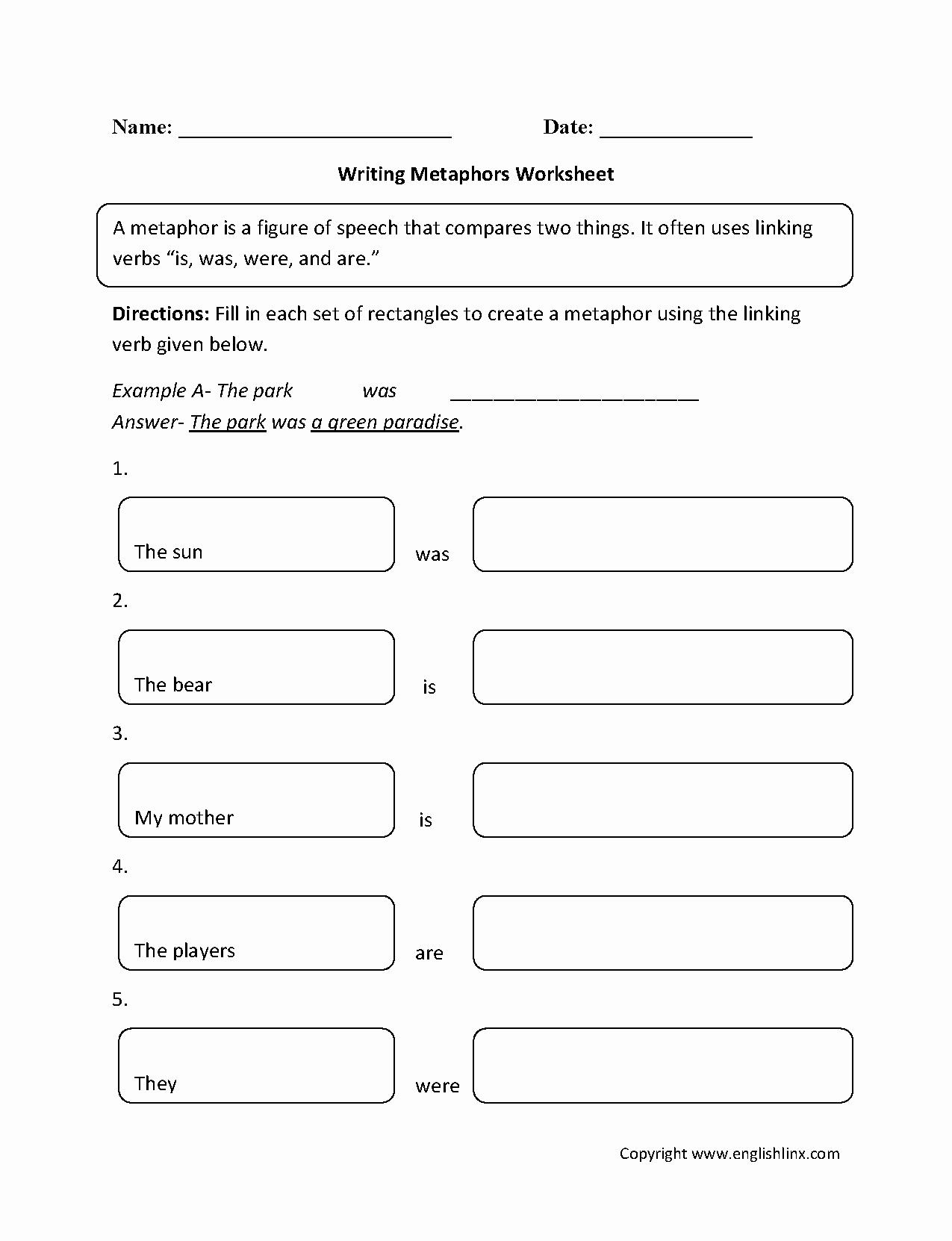 Free Printable Simile Worksheets Inspirational Writing Similes Worksheet