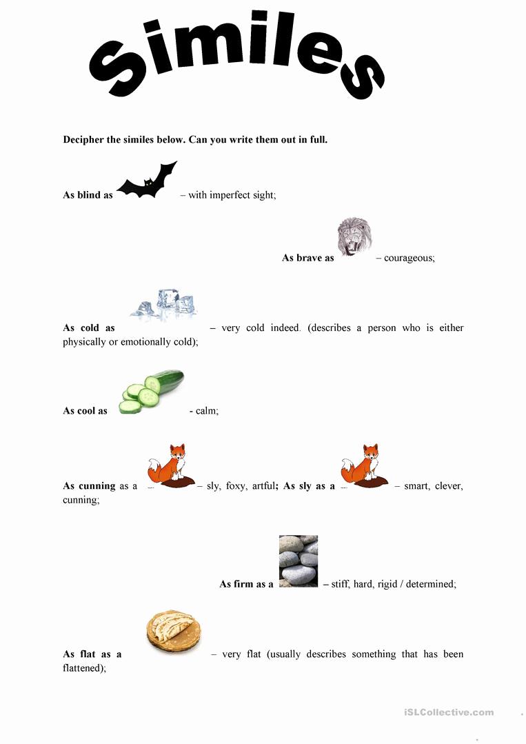 Free Printable Simile Worksheets Lovely Similes as as Worksheet Free Esl Printable