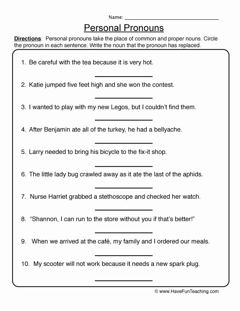 Free Pronoun Worksheets Beautiful Personal Pronouns Worksheet