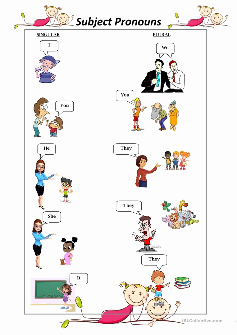 Free Pronoun Worksheets Best Of Subject Personal Pronouns English Esl Worksheets for