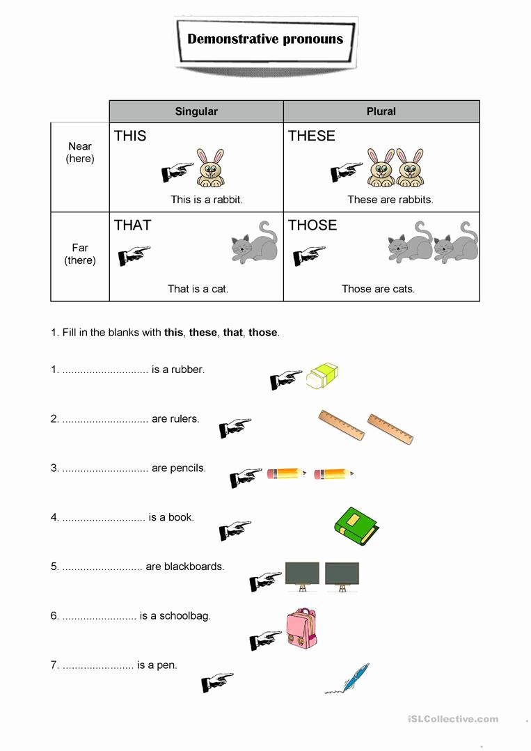 Free Pronoun Worksheets Elegant Demonstrative Pronouns Worksheet English Esl Worksheets