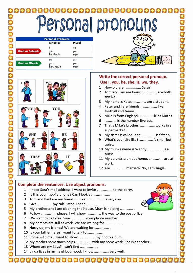 Free Pronoun Worksheets Elegant Personal Pronouns English Esl Worksheets for Distance