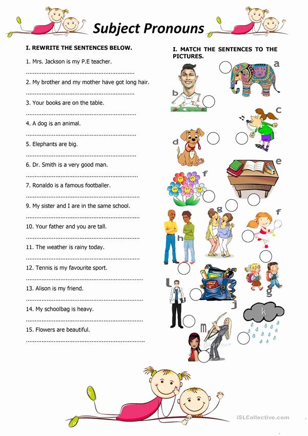 Free Pronoun Worksheets New Subject Personal Pronouns Worksheet Free Esl Printable