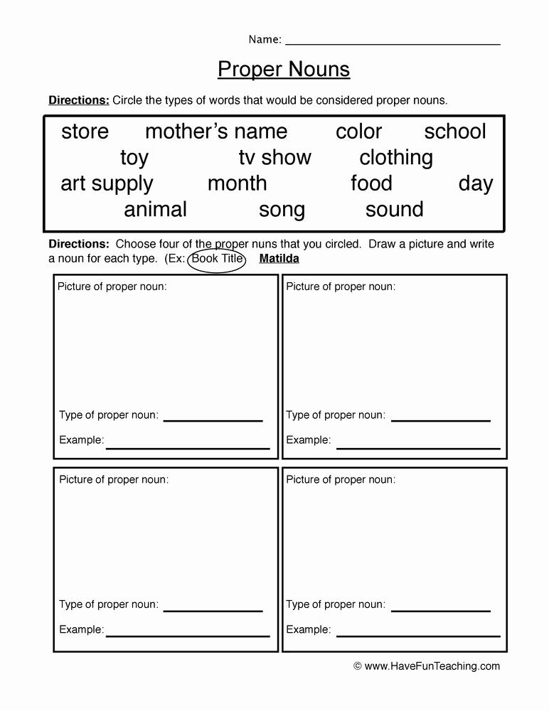 Free Proper Noun Worksheets Beautiful Proper Nouns Worksheet